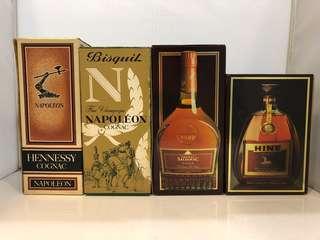 Hennessy ,Bisquit,Salignac,Hine Cognac 干邑吉盒4個
