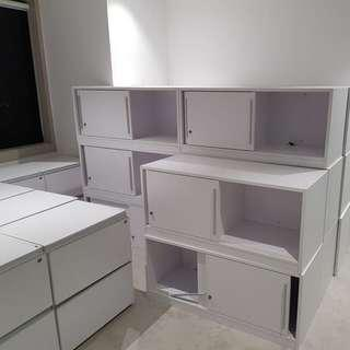 Shelves and cabinets pedestals