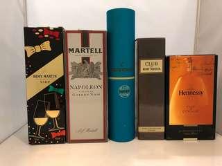 Remy Martin,Martell,Hennessy 干邑吉盒5個