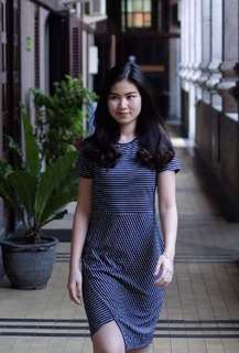 Blue Dress Assymetric Stripes