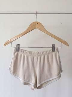 Classic American Apparel Cream Colored running shorts