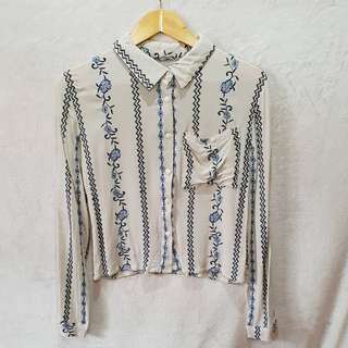 Embroidered Longsleeves Crop Polo