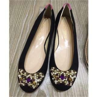 💝出清鞋櫃❤️二手私物 淺口亮鑽麂皮娃娃鞋 24cm 適合23.5cm