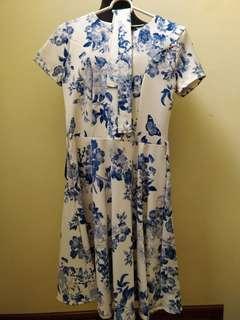 Meg Blue Floral Dress with Belt