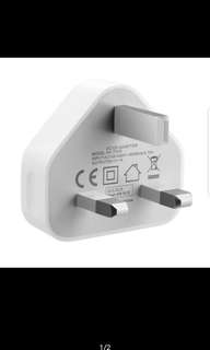 White 3 Pin USB UK Charger Adapter Plug for SAMSUNG IPHONE iPAD