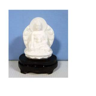 Vintage hand made cast ceramic Buddha statue on display wood stand retired new