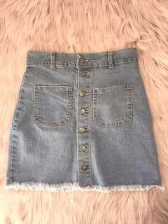 Denim A-Line Button Skirt