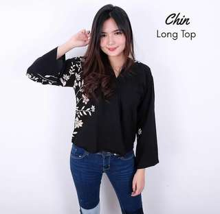 Blouse Long Top Cropy Casual Flowers
