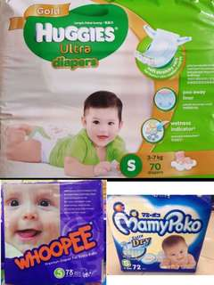 Mix Jumbo Pampers(3packs)+free huggies ultra gold s36 pcs