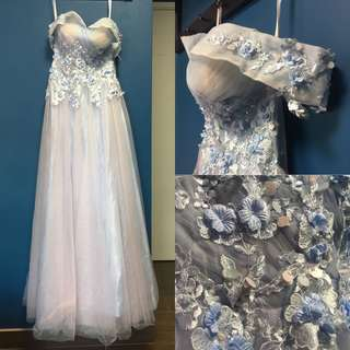 Wedding  一字肩 紫藍 粉色 婚紗晚裝 結婚 pre wedding