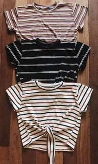 Stripe Tie Crop top