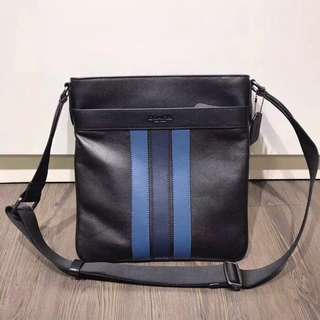Coach Charles Crossbody with Varsity Stripes - black blue