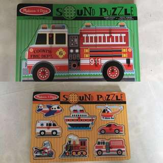 2 Melissa and Doug Sound Puzzles Vehicles