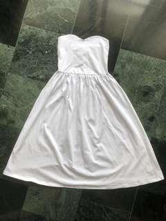 asos白色棉質平口連身洋裝