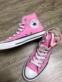 All star converse 粉紅色高筒帆布鞋