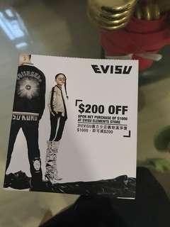 Evisu $200 coupon