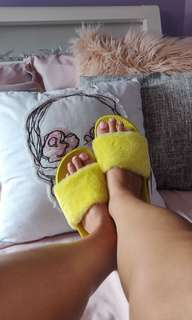 Bright Yellow Faux Fur Slides Sandals
