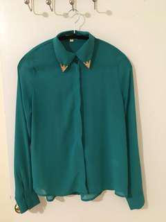 Turquoise blouse with gold detail