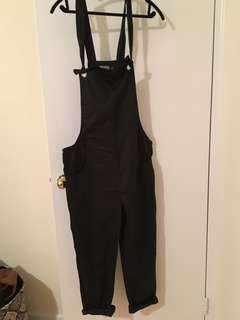 Black overalls, size large