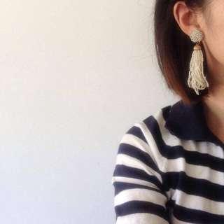 正流蘇古董夾式耳環