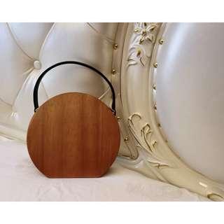 猫日屋 復古 古董木頭晚宴手提包 / 附側背鍊條