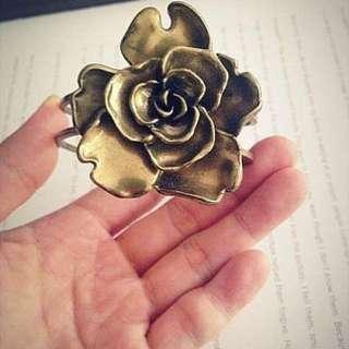 正古董玫瑰花古銅色手環