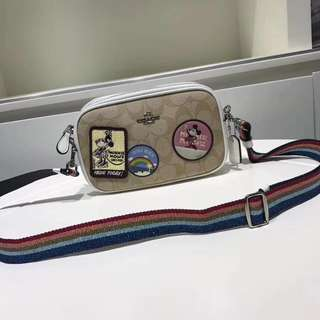 Coach Crossbody Pouch in signature canvas with Minnie Mouse patches - white