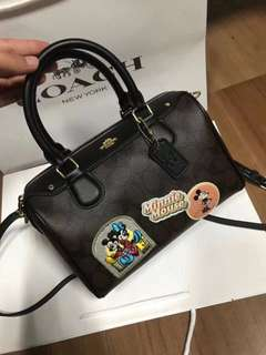 Coach Mini Bennett Satchel in signature canvas with Minnie Mouse patches