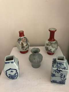 Lot Of 5 Porcelain Vases-good condition