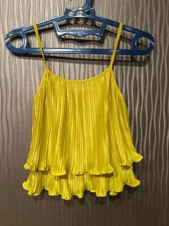 Yellow Pleated Top size S