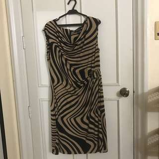 Tahari Arthur S. Levine Brown and Black Dress