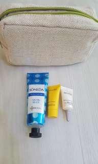 June holiday promo!New Decleor 24hr Hydrating Cream 5ml, Decleor Lift & Brighten Eye 2.5ml, Soneda Handcream 50ml with Beige Cosmetic Pouch