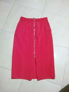Hot pink midi skirt with pocket