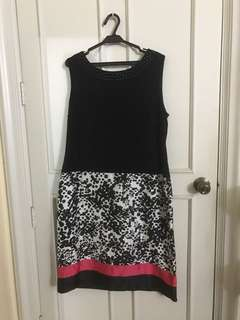 Anne Klein Black and White Dress with Pink Lining, Beads and Polka Dot Print
