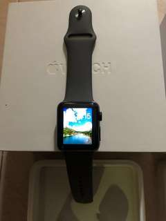 Used $288 Apple Watch S1 Space Grey Stainless Steel Case with Brand New Grey Sport Band