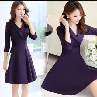Violet Long Sleeves Casual Dress