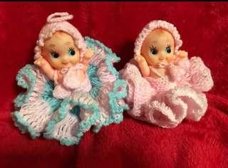 Vintage Kewpie Dolls wearing Crochet Dress