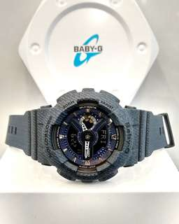 * FREE DELIVERY * Brand New 100% Authentic Casio BabyG Dark Blue Denim Lady's Casual Watch BA-110DC-2A1DR