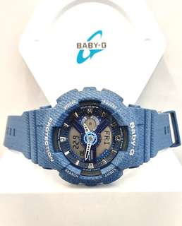 * FREE DELIVERY * Brand New 100% Authentic Casio BabyG Blue Denim Lady's Casual Watch BA-110DC-2A2DR
