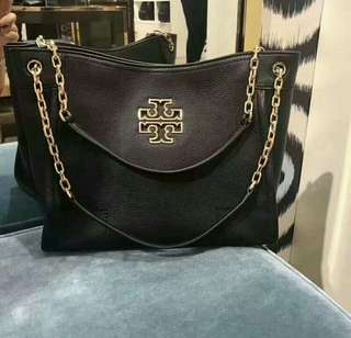 Tory Burch Britten Small Slouchy Tote in Black