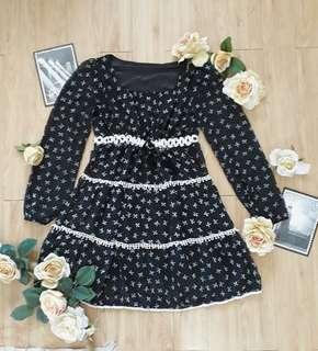 Black Flowing Long Sleeved Dress