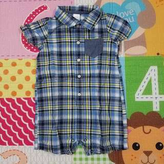 Carter's Collard Romper Blue/ Yellow 24M