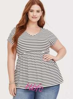 Stripe cotton top plus size