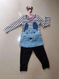 🚚 女童貓咪條紋套裝