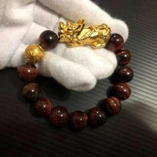 表面足金红虎眼12mm @ $128 each. (24.68g~24.72g each bracelet come with certificate)