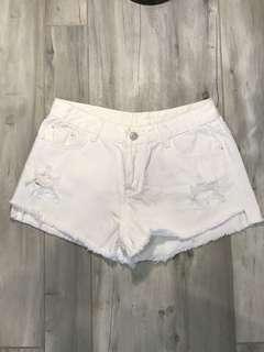 White Denim Shorts Size 28