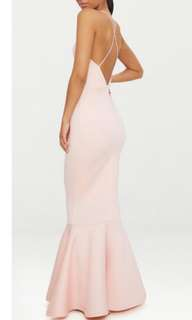 Nude Pink Fishtail Tail with Crossback Maxi Dress