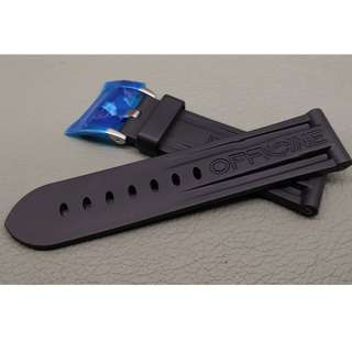 24mm錶帶 膠帶   (OAD防粘毛)  代用品 PANERAI (ref:2422PAN膠帶黑)