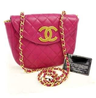 Chanel 螢光粉紅色 chain bag