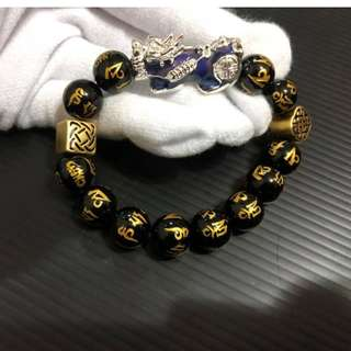 大号貔貅足银六字真言12mm @ $138 each. (Each bracelet come with certificate)